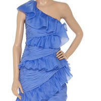 Custom Sheath One-shoulder Sleeveless Mini Chiffon Bridesmaid/Prom/Evening/Party/Homecoming Dress 2013 Pleated With Ruffles Free Shipping