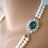 Emerald Necklace, Statement Necklace, Emerald Choker, Pearl Necklace, Great Gatsby Jewelry, Pearl Choker, Bridal Jewelry Mother Of The Bride