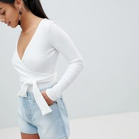 Boohoo Petite Tie Waist Wrap Body at asos.com