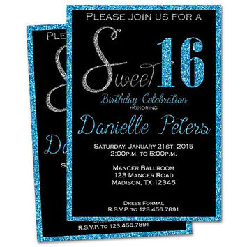 Blue Glitter Sweet 16 Invitations - Black and Blue Sweet 16 Invitations - Aqua Sweet Sixteen Invites - Printed - Sweet 16 Birthday Party