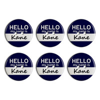 Kane Hello My Name Is Plastic Resin Button Set of 6
