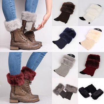 Autumn Winter Casual Womens Knitted Boot Cuffs Fur Knit Warm Leg Warmers Boot Socks Legs Warmers Shoes Set Xmas Gift