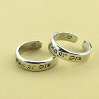 Ride or Die Cuff Ring Set, Friendship Match Rings, Best Friend BFF Hand Stamped Aluminum Ring, The fast and the furious Jewelry