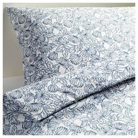 Ikea Bladvass Twin Duvet Cover and Pillowcase, White, Blue