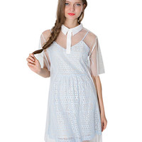 Mesh Short Sleeve Pointed Flat Collar Shift Mini Dress