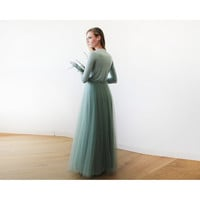 Sage green maxi tulle dress with long sleeves