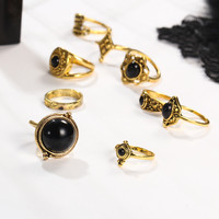2 Style Vintage Brinco Carved Flower Black Resin Lucky Power Midi Rings for Women 2017 Boho Jewelry Knuckle bague  0527
