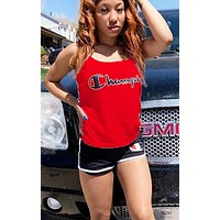Champion New fashion letter print top and shorts two piece suit women Red