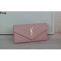 YSL tide brand female V-pattern flip clutch bag Messenger bag Pink