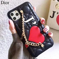 Dior New fashion love heart  leather chain phone case protective case