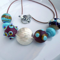 Lampwork Necklace, Artisan Handmade Glass Jewelry, Lampwork Jewelry with Sterling Silver Focal Bead