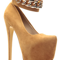 Tan Faux Suede Chained Sky High Ankle Strap Platform Pumps