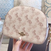 COACH New fashion horse car print leather shoulder bag crossbody bag