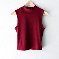 Mock Neck Ribbed Crop Top - Burgundy