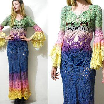 Crochet Dress RAINBOW Ombre Vintage Lace Bell Sleeve Flare Sheer HANDMADE Long Maxi Bohemian Hippie Boho Gypsy ooak xs s