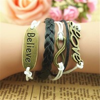 Love Believe Braid Infinity 5 Layers Black Handmade MultiLayered Bracelet BDP0529