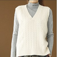 New hot sale V-neck knitted pullover waistcoat loose and versatile solid color vest