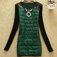 4 Colors Women Autumn Winter woolen sleeve warm Mini Necklace dress, ladies The down fabric PU leather shoulder casual dress