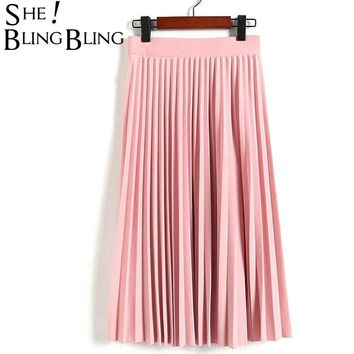STYLEDOME Women's High Waist Pleated Solid Color Half Length Elastic Skirt Promotions Lady Black Pink