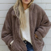 Real Talk Faux Fur Teddy Zip Up Jacket
