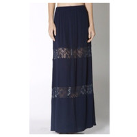 """In Style  """"Lovely in Lace"""" Navy Lace Paneled Maxi Skirt, Boho, Women's Apparel"""
