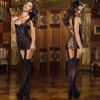 NEW Sexy Erotic Women Ladies Lace Lingerie Sleepwear Underwear Dress G-string black only (Color: Black) = 1929794820