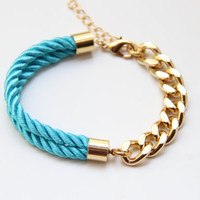 Arm candy - Gold chunky chain and Turquoise Silk Bracelet - 24k gold plated