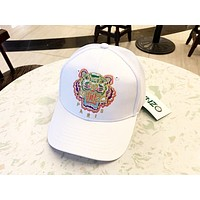 Kenzo Tide brand tiger head color label embroidery mesh hollow couple couple baseball cap cap white