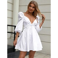 Double Crazy Lantern Sleeve Frill Trim Skater Dress