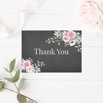 Shabby Chic Watercolor Floral Thank You Card, Peonies Thank You Card, Printable Floral Wedding Thank You, Printable Thank You Card, Digital