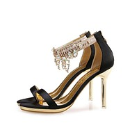 Fashion women Summer sandals new arrival woman High heels Party shoes Bride wedding shoes crystal Tassels Party Sandals