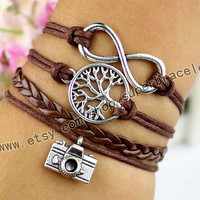 Camera bracelet, wishing trees bracelet, infinity bracelet, ancient silver charm, brown leather cord, girlfriend and BFF