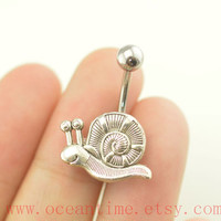snail Belly Button Rings,snail Navel jewelry,lucky belly button jewelry,friendship belly rings,oceantime