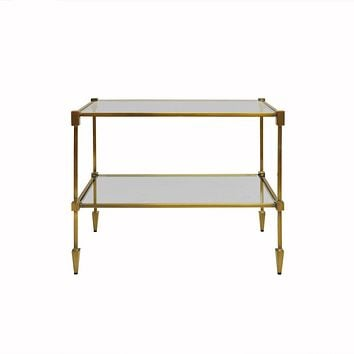 Lasso 2-Tier Antique Brass Table by Worlds Away