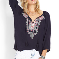 Folk Embroidered Peasant Top