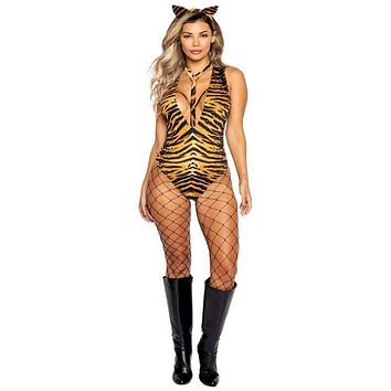 Sexy Tiger King Striped Romper Halloween Costume