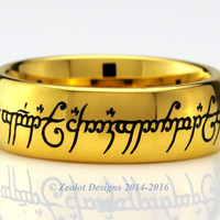 Lord of the Rings Wraparound Yellow Gold Plated Tungsten Ring