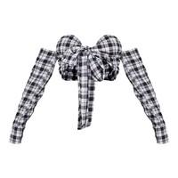 Black Check Bow Front Long Sleeve Crop Top