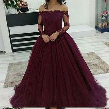 Purple Prom Dress Off The Shoulder Sleeves, Prom Dresses long, Evening Dress, Formal Dress, Ball Gown CD0096
