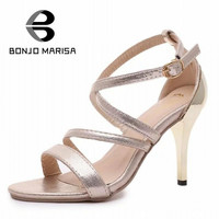 2017 hot sale ankle buckle strap summer gladiator solid dress party sandals high thin heels open toe women shoes