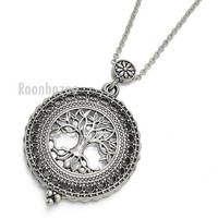 DCCKH7E New Silver 5X Magnifying Glass Tree of Life Pendant 31' Chain Necklace SJ045S