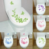ETYA Butterfly Flower bathroom toilet decal wall stickers House Decor Stickers home decorations wall decals. Free Shipping