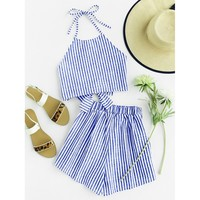 Striped Bow Open Back And Shorts Set MULTICOLOR