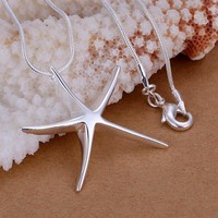 Silver fashion jewelry Starfish necklace for women, silver plated necklace