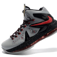 Nike Zoom Lebron 10 X P.S Elite Men's Size Shoes (Grey Black Red)