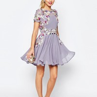 ASOS SALON 3D Floral Embellished Mini Skater Dress at asos.com