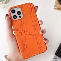 Hermes Fashion Business iPhone12 mobile phone case can be inserted into the card Apple 11 simple luxury 7plus/XS MAX