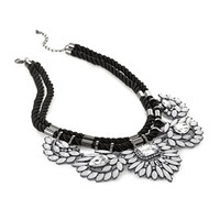Bejeweled Flower Statement Necklace