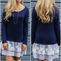 Boston Brunch Navy Lace Bottom Tunic Dress