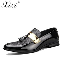 XIZI brand 2017 Men's formal Shoes social Male Casual Pointed Toe Flat For Male fashion Black leather Driving Flats dress shoes